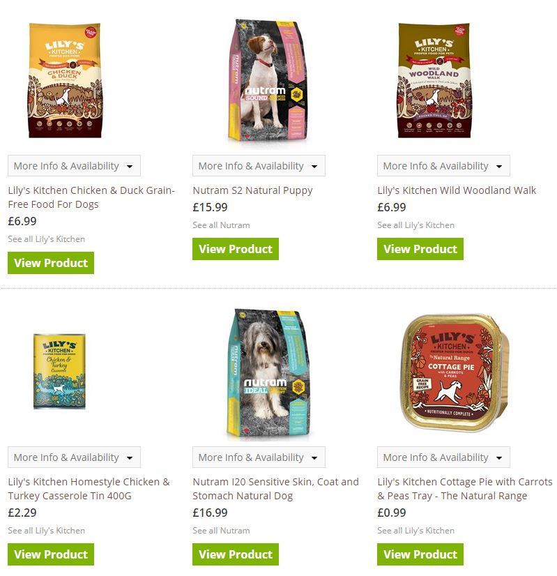 Pet friendly dog food selection